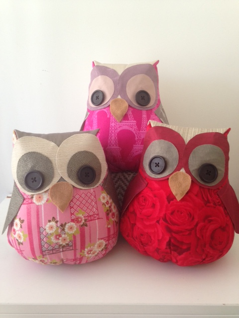 "Handmade Owl Doorstops. Valentines ""Love"" Theme. Can be found on www.etsy.com/shop/houseofnicnax or www.houseofnicnax.com.au"